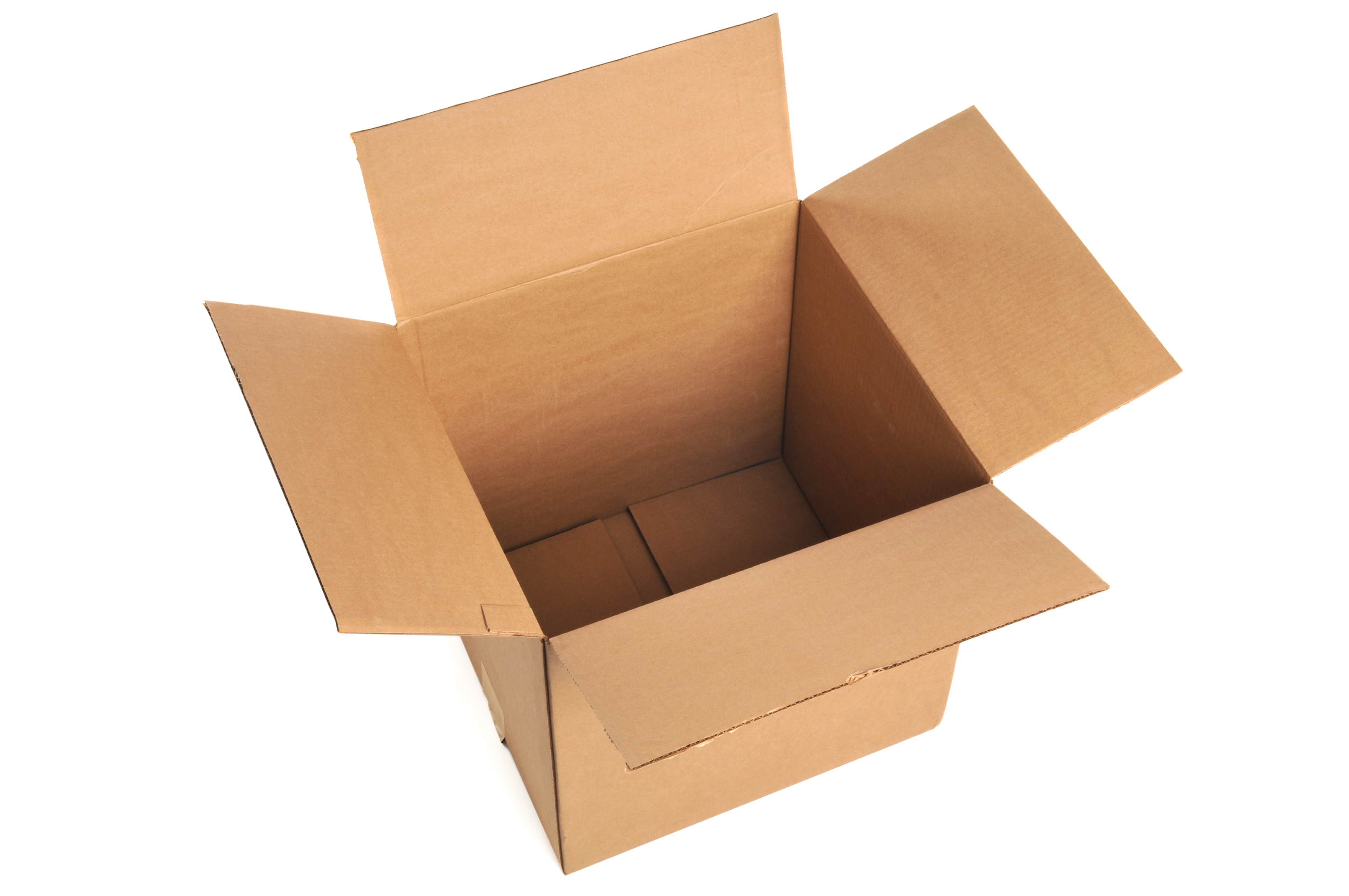 Opened cardboard box isolated on a white background